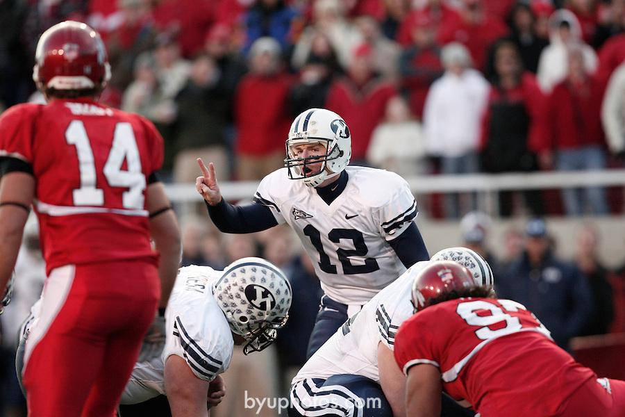 06FTB at Utah <br /> <br /> BYU-33   UNM-31<br /> <br /> 12 John Beck Quarterback.<br /> <br /> November 25, 2006<br /> <br /> Photography by Jaren Wilkey/BYU<br /> <br /> Copyright BYU Photo 2006<br /> All Rights Reserved<br /> photo@byu.edu   (801)422-7322