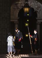Guardie Svizzere al Portone di Bronzo di Piazza San Pietro, Citta' del Vaticano, 19 novembre 2015.<br /> Swiss Guards in front of the Bronze Door, in St. Peter's Square, at the Vatican, 19 November 2015.<br /> UPDATE IMAGES PRESS/Riccardo De Luca<br /> <br /> STRICTLY ONLY FOR EDITORIAL USE