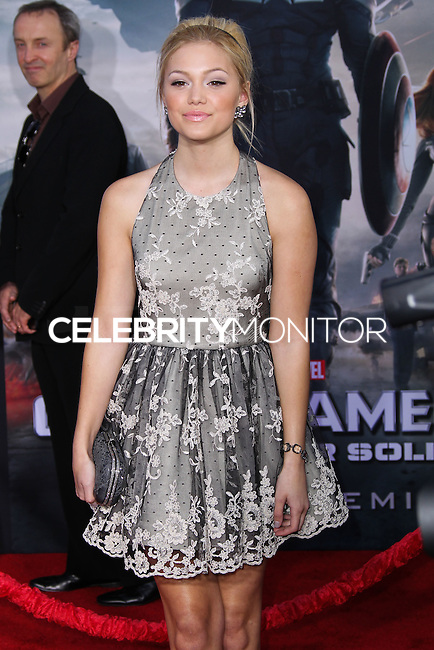 """HOLLYWOOD, LOS ANGELES, CA, USA - MARCH 13: Olivia Holt at the World Premiere Of Marvel's """"Captain America: The Winter Soldier"""" held at the El Capitan Theatre on March 13, 2014 in Hollywood, Los Angeles, California, United States. (Photo by Xavier Collin/Celebrity Monitor)"""