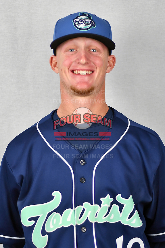 Asheville Tourists pitcher Shelby Lackey (10) during media day at McCormick Field on April 2, 2019 in Asheville, North Carolina. (Tony Farlow/Four Seam Images)