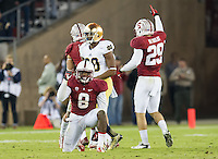 STANFORD, CA - November 30, 2013: Stanford Cardinal strong safety Jordan Richards (8) celebrates his interception during the Stanford Cardinal vs the Notre Dame Irish at Stanford Stadium in Stanford, CA. Final score Stanford Cardinal 27, Notre Dame Irish  20.