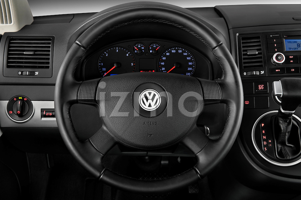 Steering wheel view of a 2010 Volkswagen Multivan Shuttle Comfortline Minivan
