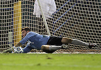 HOOVER, AL - DECEMBER 07, 2012:  Tomas Gomez (1) of Georgetown University makes the game winning save during an NCAA 2012 Men's College Cup semi-final match, at Regents Park, in Hoover , AL, on Friday, December 07, 2012. The game ended in a 4-4 tie, after overtime Georgetown won on penalty kicks.