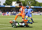 June 17th 2017, Gander Green Lane, Sutton, England; Football Charity Match; Chelsea Legends versus Rangers Legends; Chelsea Keeper Tony Warner saves at the feet of Rangers Nacho Novo