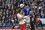 16.03.2019, VELTINS-Arena, Gelsenkirchen, GER, DFL, 1. BL, FC Schalke 04 vs RB Leipzig, DFL regulations prohibit any use of photographs as image sequences and/or quasi-video<br /> <br /> im Bild Kopfball / Kopfballduell Marcel Halstenberg (#23, RB Leipzig) Mark Uth (#7, FC Schalke 04) <br /> <br /> Foto © nph/Mauelshagen
