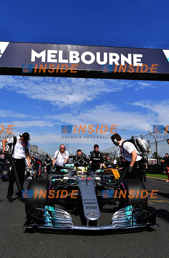 Lewis Hamilton (GBR) Mercedes-Benz F1 W08 Hybrid on the grid at Formula One World Championship, Rd1, Australian Grand Prix, Race, Albert Park, Melbourne, Australia, Sunday 26 March 2017.<br /> Foto Sutton/Panoramic/Insidefoto