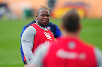 Beno Obano of Bath Rugby looks on during the pre-match warm-up. Aviva Premiership match, between Bath Rugby and Wasps on March 4, 2017 at the Recreation Ground in Bath, England. Photo by: Patrick Khachfe / Onside Images