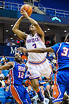Texas-Arlington Mavericks guard Jamel Outler (3) in action during the game between the Houston Baptist Huskies and the Texas-Arlington Mavericks at the College Park Center arena in Arlington, Texas. UTA defeats Houston Baptist 81 to 47...