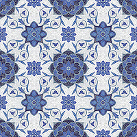 Aurelia, a hand cut jewel glass mosaic shown in Lapis Lazuli, Iolite, Mica, Absolute White, and Blue Spinel, is part of the Sea Glass™ Collection by New Ravenna.