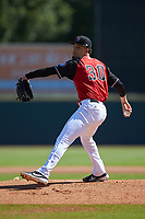 Hickory Crawdads starting pitcher Yerry Rodriguez (30) in action against the Charleston RiverDogs at L.P. Frans Stadium on May 13, 2019 in Hickory, North Carolina. The Crawdads defeated the RiverDogs 7-5. (Brian Westerholt/Four Seam Images)