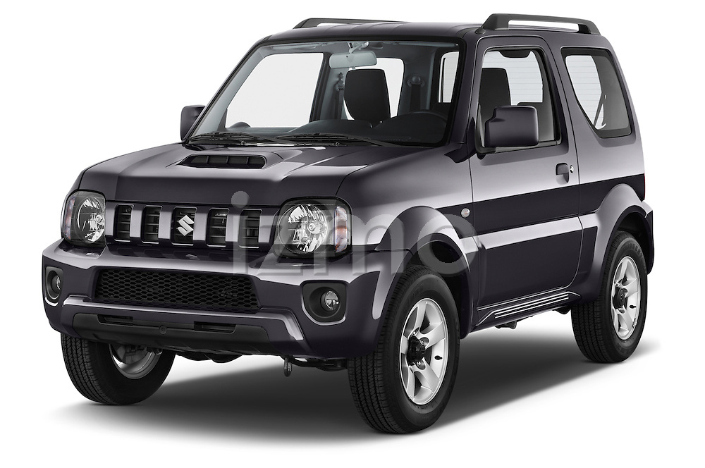 2014 Suzuki JIMNY JLX X-Citement 3 Door SUV 4WD Angular Front stock photos of front three quarter view