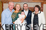 Maria and Emanuele Ceragioli from Gneeveguilla celebrated christening of their son Christian with friends and family. Pictured with Liam  and Marie O'Connor in the Plaza Hotel, Killarney last Saturday.