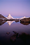 The Matterhorn reflected in Riffelsee Zermatt, Switzerland