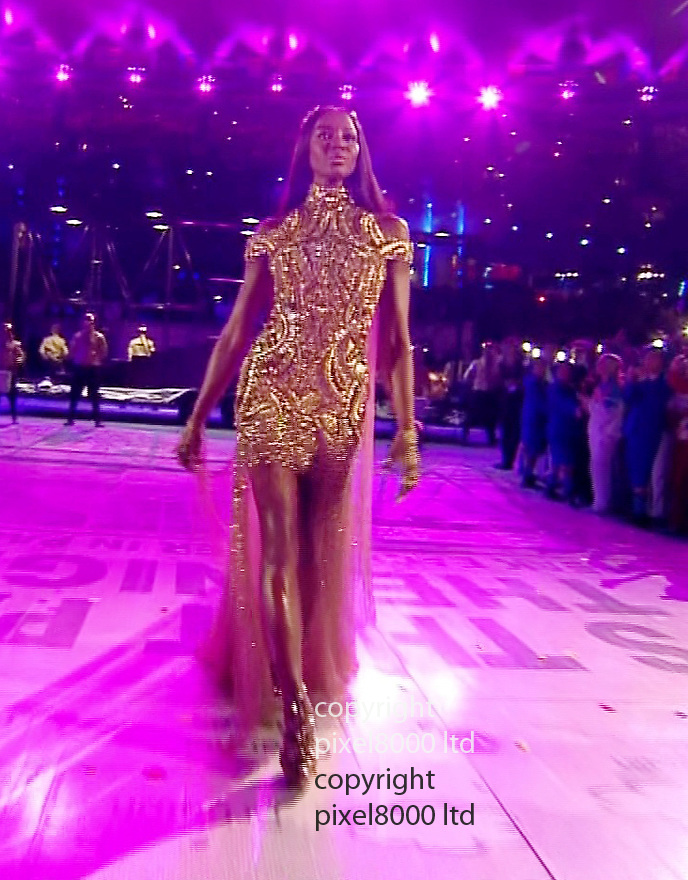 Olympics 2012 - BBC Coverage.Closing ceremony.British Fashion represented by supermodels.naomi Campbell......Picture by Pixel8000 07917221968