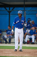 GCL Blue Jays third baseman Joseph Reyes (24) at bat during a game against the GCL Phillies West on August 7, 2018 at Bobby Mattick Complex in Dunedin, Florida.  GCL Blue Jays defeated GCL Phillies West 11-5.  (Mike Janes/Four Seam Images)