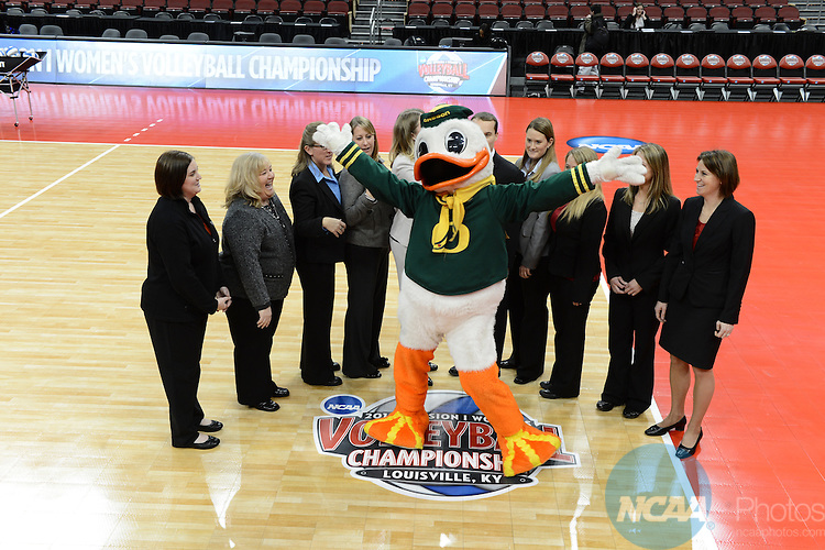 13 DEC 2012: The University of Texas takes on the University of Oregon during the Division I Woman's Volleyball Championship held at the KFC Yum Center in Louisville, KY. The University of Texas defeated Oregon 3-0 to claim the national championship. Stephen Nowland/NCAA Photos