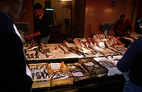 Various types of fishes on the fish market of Milazzo, Sicily, Italy, Europe. Most of the fishes come from local fishermen. Milazzo is the city of Sicily where the ships start to Liparian Islands.