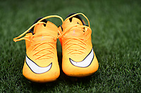 A close up of a pair of orange Nike football boots during the pre-match warm-up<br /> <br /> Photographer Chris Vaughan/CameraSport<br /> <br /> The EFL Sky Bet Championship - Sheffield Wednesday v Bolton Wanderers - Saturday 10th March 2018 - Hillsborough - Sheffield<br /> <br /> World Copyright &copy; 2018 CameraSport. All rights reserved. 43 Linden Ave. Countesthorpe. Leicester. England. LE8 5PG - Tel: +44 (0) 116 277 4147 - admin@camerasport.com - www.camerasport.com