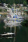 Boats  at anchor in  overlooked by homes in Deep Cove bay.  Deep Cove, Burrard Inlet, Vancouver, British Columbia, Canada.