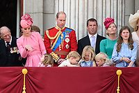 Catherine Duchess of Cambridge, Princess Charlotte, Prince George, Prince William, Savannah and Isla Phillips, Peter Phillips<br /> on the balcony of Buckingham Palace during Trooping the Colour on The Mall, London. <br /> <br /> <br /> &copy;Ash Knotek  D3283  17/06/2017