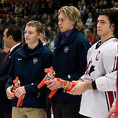 Patrick Kane (Buffalo, New York - London Knights), Erik Johnson (Bloomington, Minnesota - University of Minnesota) and Kris Letang were named Media All-Stars. Team Canada (gold), Team Russia (silver) and Team USA line up for the individual awards and team medal presentations following Team Canada's 4-2 victory over Team Russia to win the gold in the 2007 World Championship on Friday, January 5, 2007 at Ejendals Arena in Leksand, Sweden.