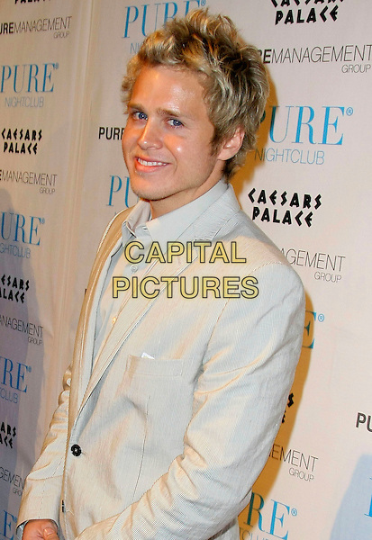 SPENCER PRATT .Speidi celebrate Valentine's Day at Pure Nightclub inside the Caesar's Palace Resort Hotel and Casino, Las Vegas, Nevada, USA, 14th February 2009..half length grey gray jacket suit .CAP/ADM/MJT.©MJT/Admedia/Capital Pictures