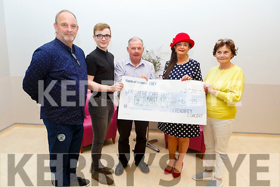 The Crowley family from Kenmare present the Palliative Care Unit at UHK, the sum of €6,755 from the Serendipity Concert fundraiser.<br /> L to r: Paul and Fiachra Crowley, Joe Hennebry (Kerry Hospice), Margaret Lynch Crowley and Mary Shanahan (Kerry Hospice).