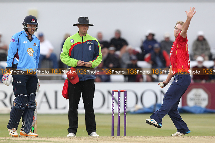 Tom Westley in bowling action for Essex - Northamptonshire Steelbacks vs Essex Eagles - Royal London One-Day Cup at the County Ground, Northampton - 21/08/14 - MANDATORY CREDIT: Gavin Ellis/TGSPHOTO - Self billing applies where appropriate - contact@tgsphoto.co.uk - NO UNPAID USE