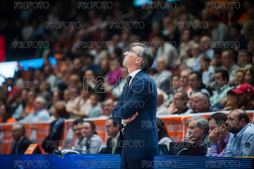 VALENCIA, SPAIN - OCTOBER 31: Moncho Fernandez during ENDESA LEAGUE match between Valencia Basket Club and Rio Natura Monbus Obradoiro at Fonteta Stadium on   October 31, 2015 in Valencia, Spain