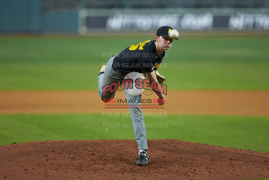Missouri Tigers starting pitcher Spencer Miles (35) delivers a pitch to the plate against the Texas Longhorns in game eight of the 2020 Shriners Hospitals for Children College Classic at Minute Maid Park on March 1, 2020 in Houston, Texas. The Tigers defeated the Longhorns 9-8. (Brian Westerholt/Four Seam Images)