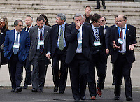 AGENZIA EUROPEA DELLO SPAZIO.CONSIGLIO A LIVELLO MINISTERIALE .NELLA FOTO  UN GRUPPO DI DELEGATI TRA CUI ENRICO SAGGESE ( 1 DX) FRANCESCO PROFUMO (2 DX).EUROPEAN SPACE AGENCY  COUNCIL MEETING AT MINISTERIAL LEVEL.