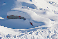 Sweden, SWE, Kiruna, 2008MAR20: A car is stuck in the snow.