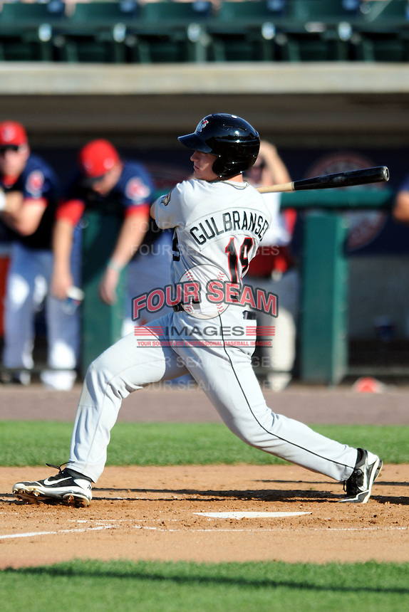 Tri-City Valley Cats outfielder Dan Gulbransen #19 during a game versus the Lowell Spinners at LeLacheur Park In Lowell, Massachusetts on July 1, 2012.   (Ken Babbitt/Four Seam Images)
