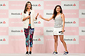 """(L to R) Australian model Miranda Kerr and the fashion model Anne Nakamura attend the Reebok Skyscape Fashion Show on April 15, 2015, Tokyo, Japan. Miranda Kerr, who is very popular in Japan, is the Reebok global ambassador for the new footwear line """"Skyscape"""". Models Anne Nakamura, Tina Tamashiro and Funassyi, mascot of Funabashi city in Chiba, also attended the event. (Photo by Rodrigo Reyes Marin/AFLO)"""