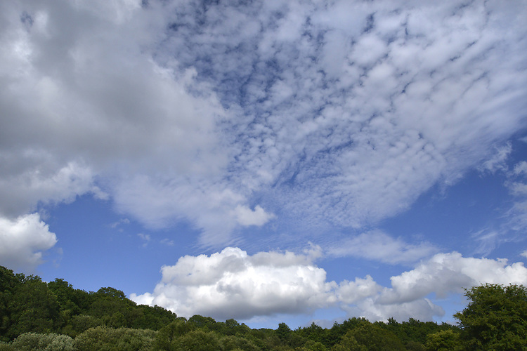 Cirrus and cumulus clouds against a blue sky