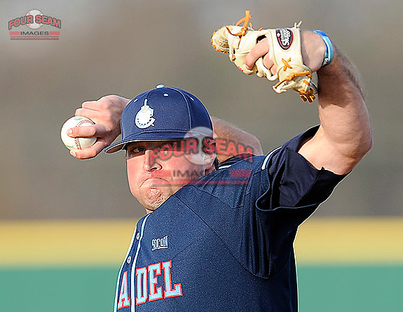 Pitcher Brett Tompkins (12) of the Citadel in a game against the University of South Carolina Upstate Spartans on Tuesday, February, 18, 2014, at Cleveland S. Harley Park in Spartanburg, South Carolina. Upstate won, 6-2. (Tom Priddy/Four Seam Images)