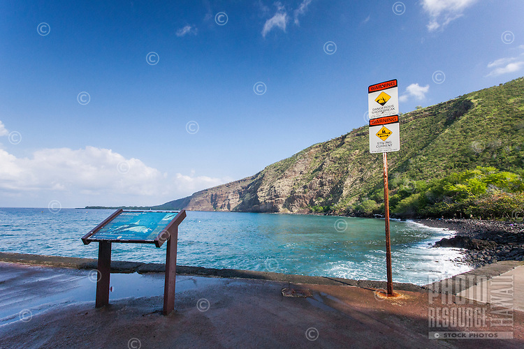 Informational signs at the overlook of Kealakekua Bay, Big Island.