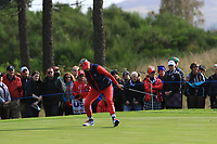 Jessica Korda of Team USA on the 6th green during Day 1 Foursomes at the Solheim Cup 2019, Gleneagles Golf CLub, Auchterarder, Perthshire, Scotland. 13/09/2019.<br /> Picture Thos Caffrey / Golffile.ie<br /> <br /> All photo usage must carry mandatory copyright credit (© Golffile | Thos Caffrey)