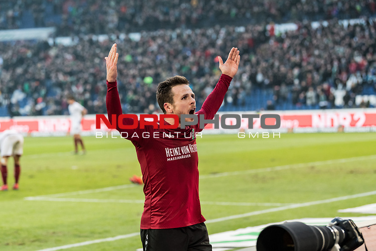 09.02.2019, HDI Arena, Hannover, GER, 1.FBL, Hannover 96 vs 1. FC Nuernberg<br /> <br /> DFL REGULATIONS PROHIBIT ANY USE OF PHOTOGRAPHS AS IMAGE SEQUENCES AND/OR QUASI-VIDEO.<br /> <br /> im Bild / picture shows<br /> Jubel 2:0, Nicolai Müller / Mueller (Neuzugang Hannover 96 #21) bejubelt seinen zweiten Treffer im Spiel,  <br /> <br /> Foto © nordphoto / Ewert