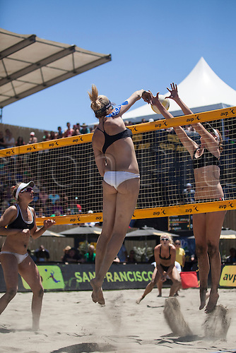 26.06.2016. San Francisco, California, USA.  Kerri Walsh Jennings puts the ball over the net past Kelly Claes in the championship match during the AVP San Francisco Open in San Francisco, CA.
