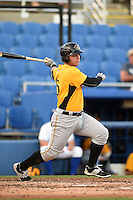 Bradenton Marauders third baseman Wyatt Mathisen (15) at bat during a game against the Dunedin Blue Jays on April 14, 2015 at Florida Auto Exchange Stadium in Dunedin, Florida.  Bradenton defeated Dunedin 7-1.  (Mike Janes/Four Seam Images)