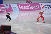 SPEEDSKATING: SOCHI: Adler Arena, 24-03-2013, Essent ISU World Championship Single Distances, Day 4, 500m Men, Tucker Fredricks (USA), Artur Was (POL), © Martin de Jong