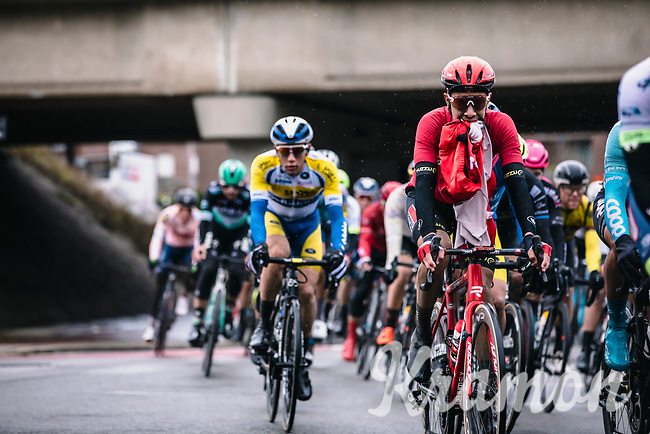 Stefano Oldani (ITA/Lotto Soudal) getting rid of his extra layer<br /> <br /> GP Monseré 2020<br /> One Day Race: Hooglede – Roeselare 196.8km. (UCI 1.1)<br /> Bingoal Cycling Cup 2020
