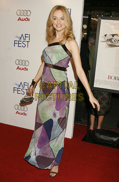"HEATHER GRAHAM.AFI Fest 2006 Opening Night Gala and US Premiere of ""Bobby"" held at Mann's Chinese Theatre, Hollywood, California, USA..November 1st, 2006.Ref: ADM/RE.full length one shoulder purple green blue black pattern dress.www.capitalpictures.com.sales@capitalpictures.com.©Russ Elliot/AdMedia/Capital Pictures."