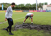 England Manager, Paul Simpson, inspects the goalmouth during Guatemala Under-23 vs England Under-20, Tournoi Maurice Revello Football at Stade Marcel Cerdan on 11th June 2019