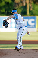 Myrtle Beach Pelicans pitcher Keegan Thompson (20) on the mound during a game against the Salem Red Sox at Ticketreturn.com Field at Pelicans Ballpark on June 8, 2018 in Myrtle Beach, South Carolina. Myrtle Beach defeated Salem 5-4. (Robert Gurganus/Four Seam Images)
