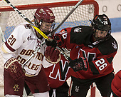 Ryan Little (BC - 20), Heather Mottau (NU - 26) - The Boston College Eagles defeated the Northeastern University Huskies 2-1 to win the Beanpot on Monday, February 7, 2017, at Matthews Arena in Boston, Massachusetts.