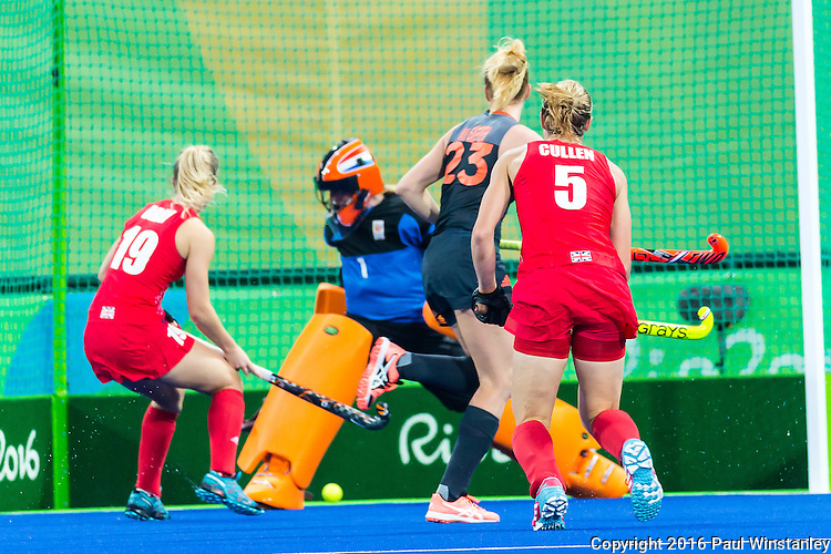 Goal from a shot by Crista Cullen #5 of Great Britain watched by Joyce Sombroek #1 of Netherlands, Margot van Geffen #23 of Netherlands and Sophie Bray #19 of Great Britain during Netherlands vs Great Britain in the gold medal final at the Rio 2016 Olympics at the Olympic Hockey Centre in Rio de Janeiro, Brazil.