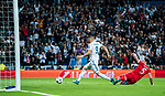 Karim Benzema of Real Madrid shoots and scores his second goal during the UEFA Champions League Semi-final 2nd leg match between Real Madrid and Bayern Munich at the Estadio Santiago Bernabeu on May 01 2018 in Madrid, Spain. Photo by Diego Souto / Power Sport Images