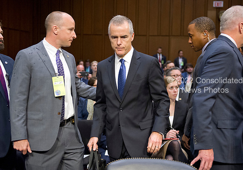 Acting Director of the Federal Bureau of Investigation (FBI) Andrew McCabe, center, arrives to testify before the United States Senate Select Committee on Intelligence for an open hearing titled &quot;Worldwide Threats&quot; on Capitol Hill in Washington, DC on Thursday, May 11, 2017.  <br /> Credit: Ron Sachs / CNP<br /> (RESTRICTION: NO New York or New Jersey Newspapers or newspapers within a 75 mile radius of New York City)